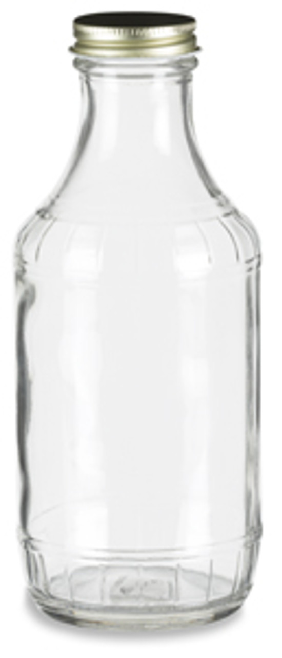 16 Oz Decanter Glass Bottle With Gold Metal Cap