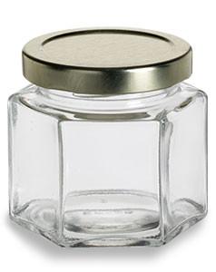 31d02d0fc6d7 4 oz (120 ml) Squat Hexagon Glass Jar with Gold Lid