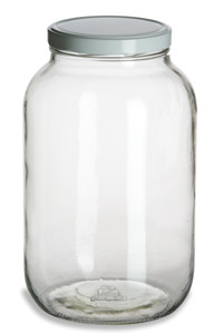 2a47451448a 1 Gallon (128 oz) Clear Widemouth Glass Jar with White Metal Lid