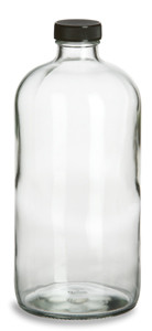 f56a6d262240 32 oz Clear Boston Round Glass Bottle with Black Cap