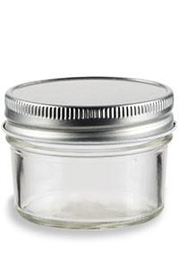 6e177ad0a33e 4 oz Eco Mason Tapered Glass Jar with Silver Lid