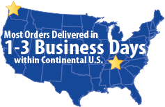 With warehouses in Seattle and Nashville, most orders are delivered in one to three business days within the continental U.S.