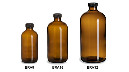 Larger Amber Boston Round Glass Bottles