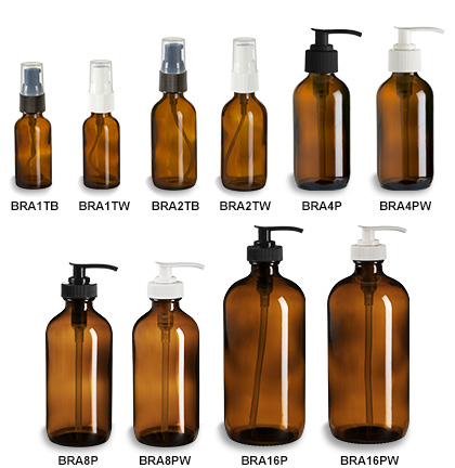 Amber Boston Round Glass Bottles with Pumps