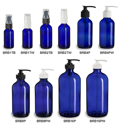 Blue Boston Round Glass Bottles with Pumps