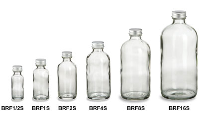 Clear Boston Round Glass Bottles with Silver Caps