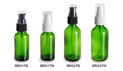 Green Boston Round Glass Bottles with Pumps