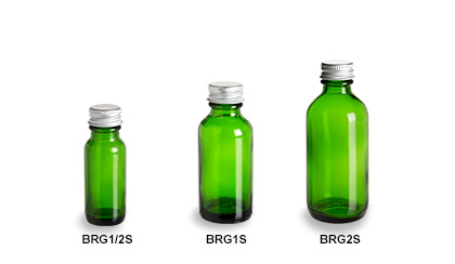 Green Boston Round Glass Bottles with Silver Caps