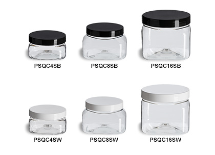 Clear PET Square Jars with Smooth Lids