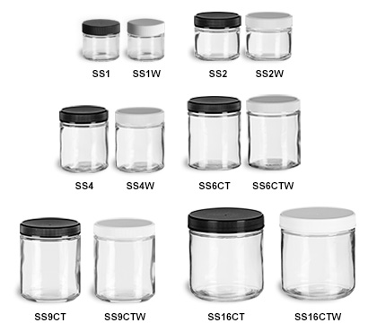 Clear Straight Sided Jars with Plastic Lids