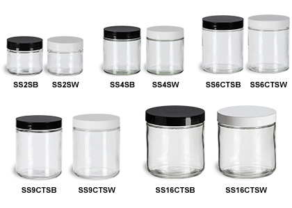 Clear Straight Sided Jars with Smooth Plastic Lids