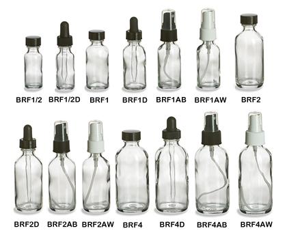 Clear Boston Round Glass Bottles