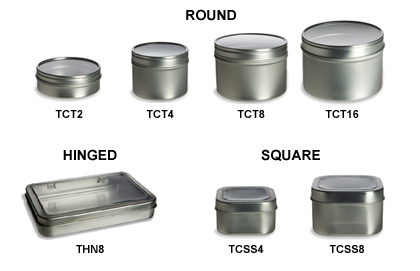 Clear Top Tin Containers