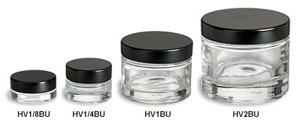 Heavy Base Clear Glass Jars with Black Lids