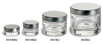 Heavy Base Clear Glass Jars with Silver Lids