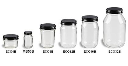 Mason Jars (Canning Jars) with Black Lids