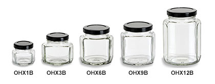 Oval Hexagon Jars with Black Lids