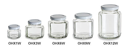 Oval Hexagon Jars with White Lids