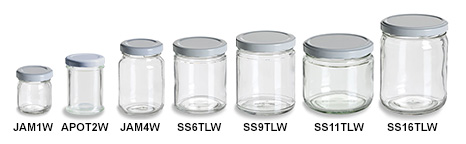 Clear Short Straight Sided Jars with White Lids