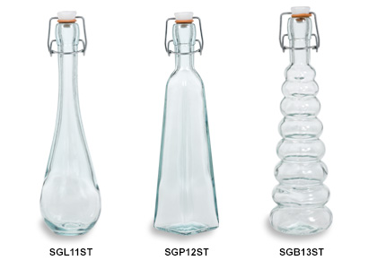 Spanish Recycled Glass Bottles with Swing Tops