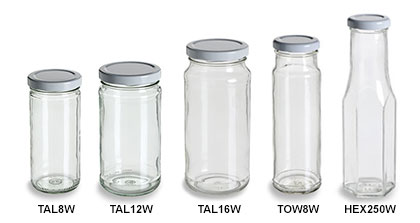 Clear Tall Straight Sided Jars with White Lids