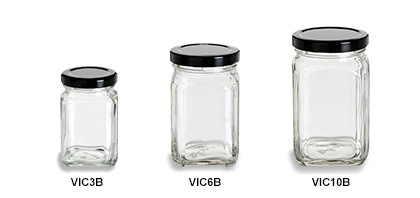 Victorian Square Jars with Black Lids