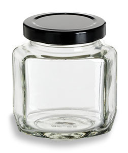 3f9876858fde 6 oz (190 ml) Oval Hexagon Glass Jar with Black Lid