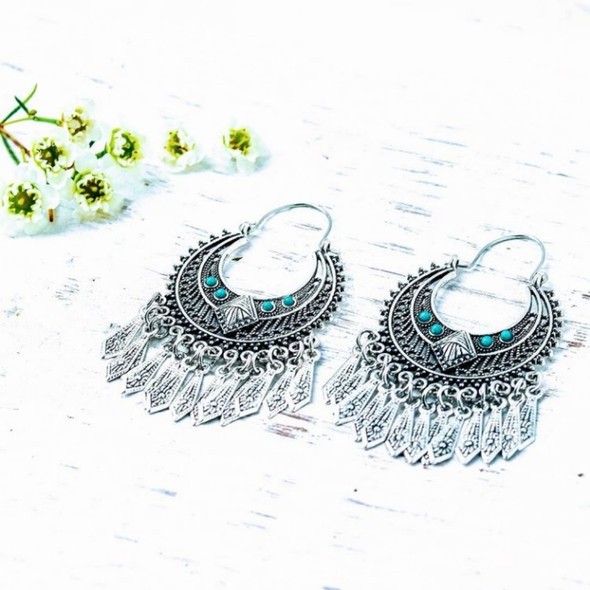 Antique Silver & Turquoise Stone Earrings