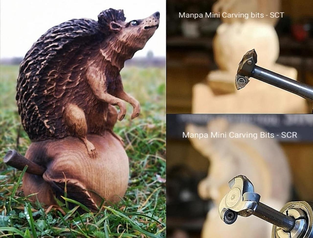 "MANPA MINI CARVING BITS - TRIANGLE HEAD, 1/4"" MANDREL"