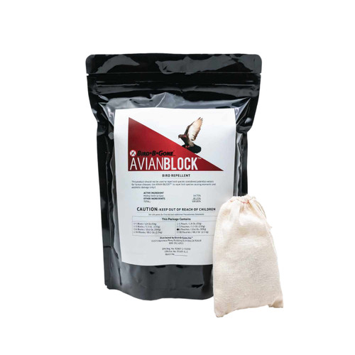 Avian Block Bird Repellent Pouch protects trees and patios