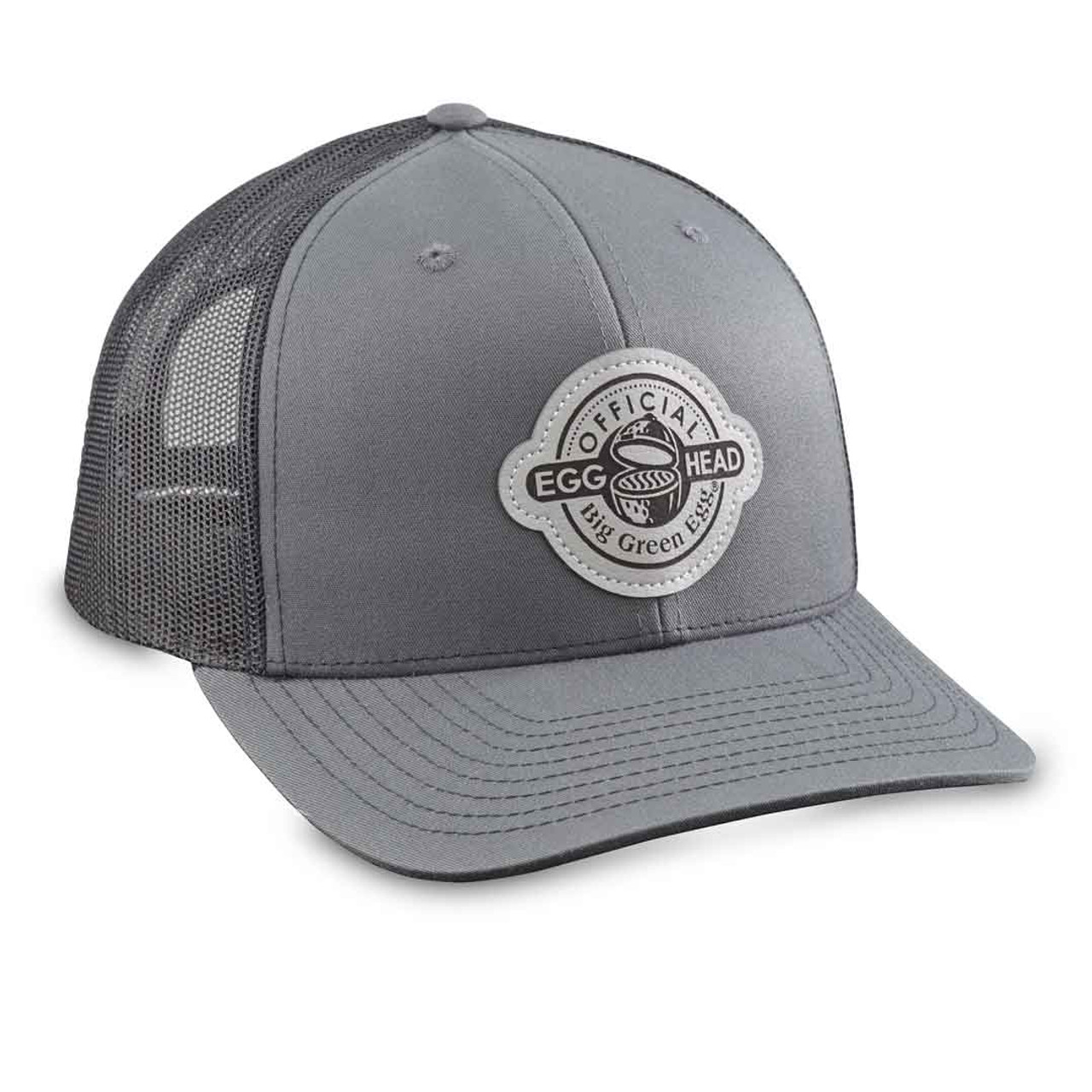 Grey Leather Patch Baseball Cap