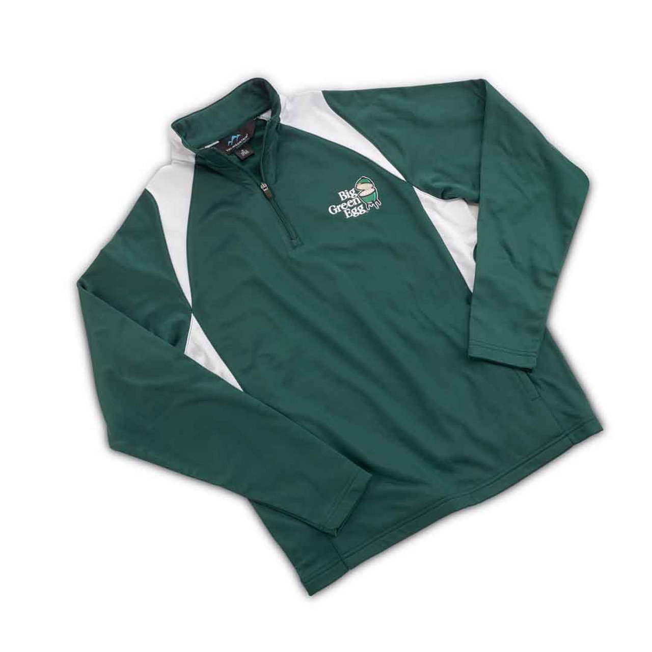 Green and white Big Green Egg pullover quarter-zip jacket