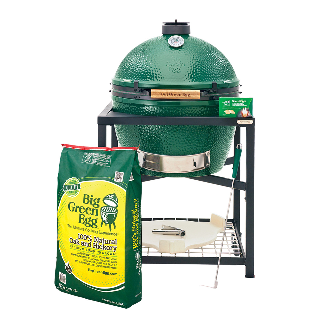 Big Green Egg Xlarge package in new modular nest with Xlarge conveggtor, 20 lb bag of lump charcoal, large ash tool, grid gripper, reggulator top, speedilight charcoal starters