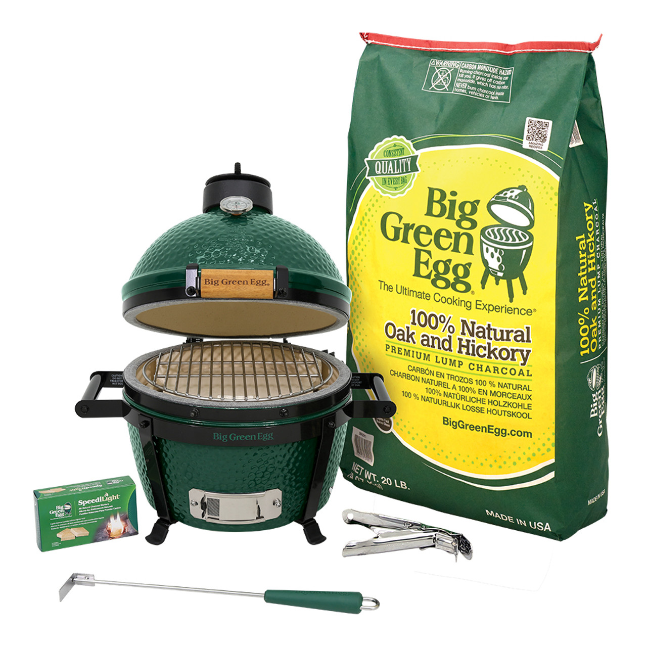 Big Green Egg MiniMax package with EGG, lump charcoal, ash tool, grid gripper, nest and charcoal starters