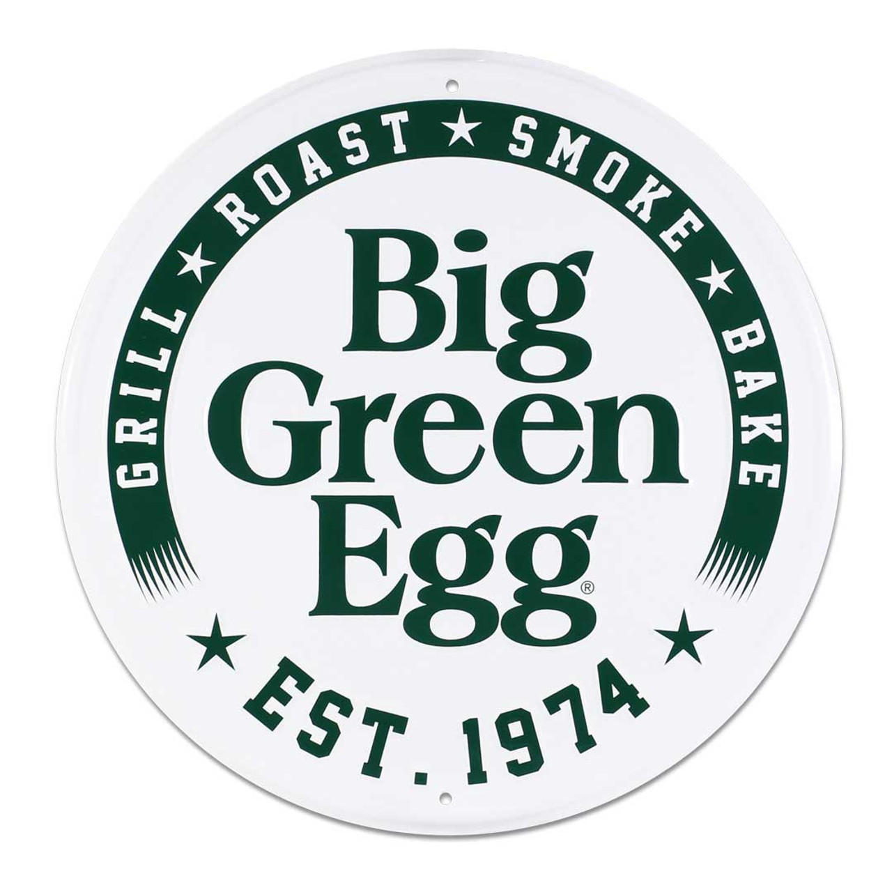 Round Stamped Aluminum Est. 1974 Sign, White Big Green Egg Sign