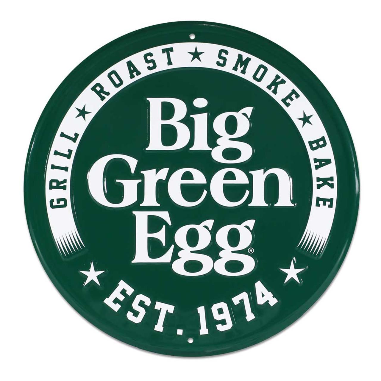 Round Stamped Aluminum Est. 1974 Sign, Green Big Green Egg Sign