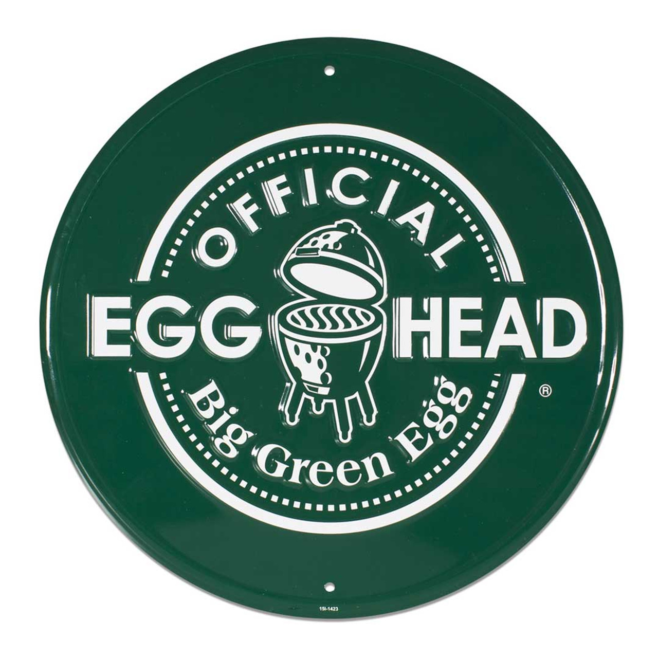 Round Stamped Aluminum Official EGGhead Sign, Green