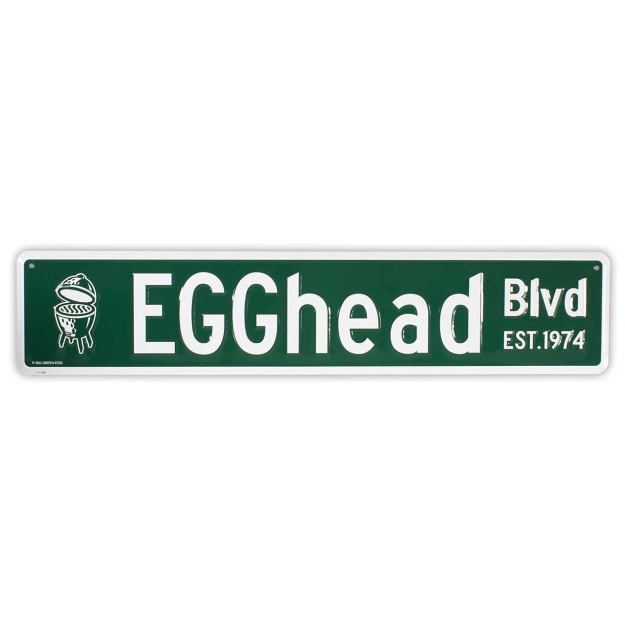 Stamped Aluminum EGGhead Street Sign