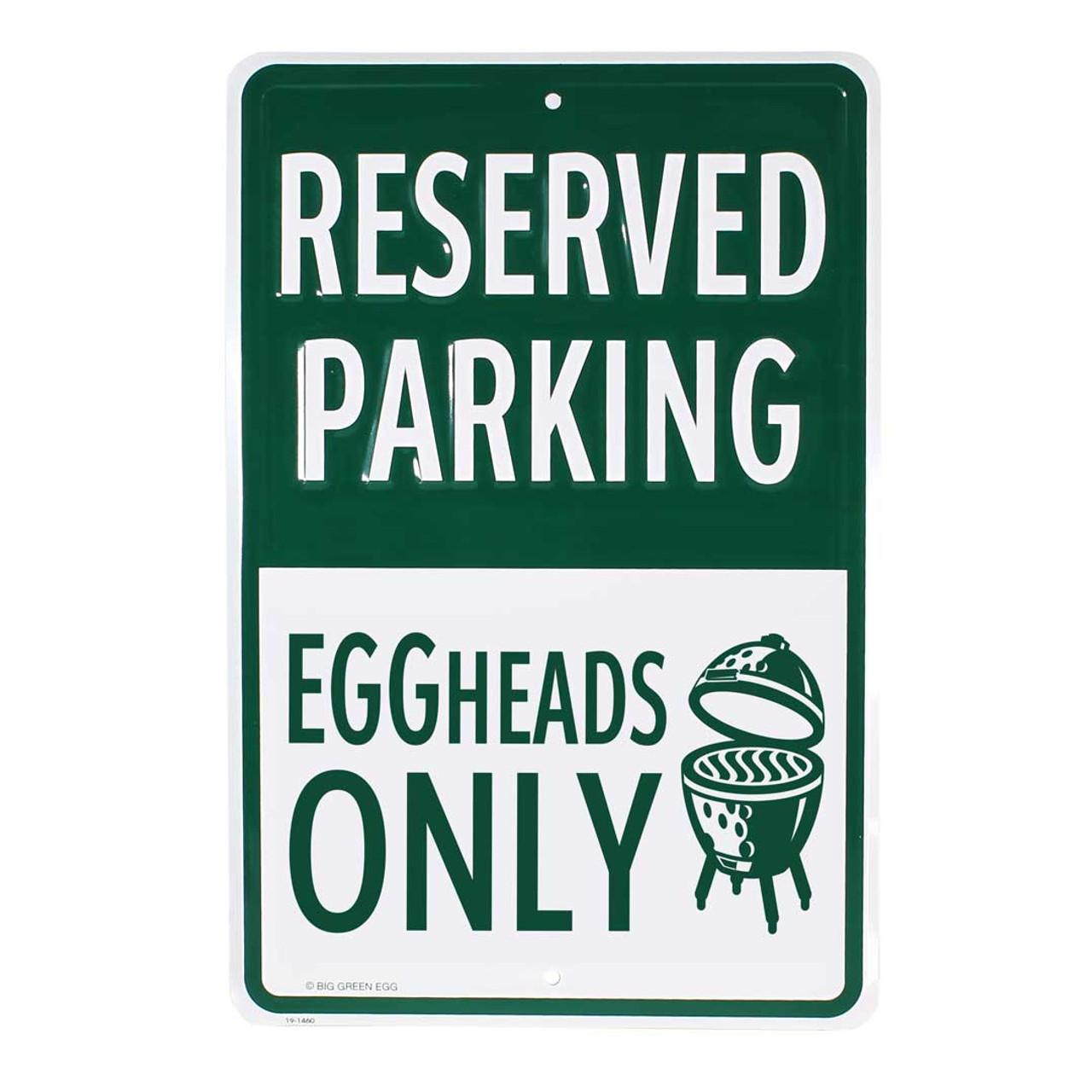 Stamped Aluminum EGGhead Parking Sign