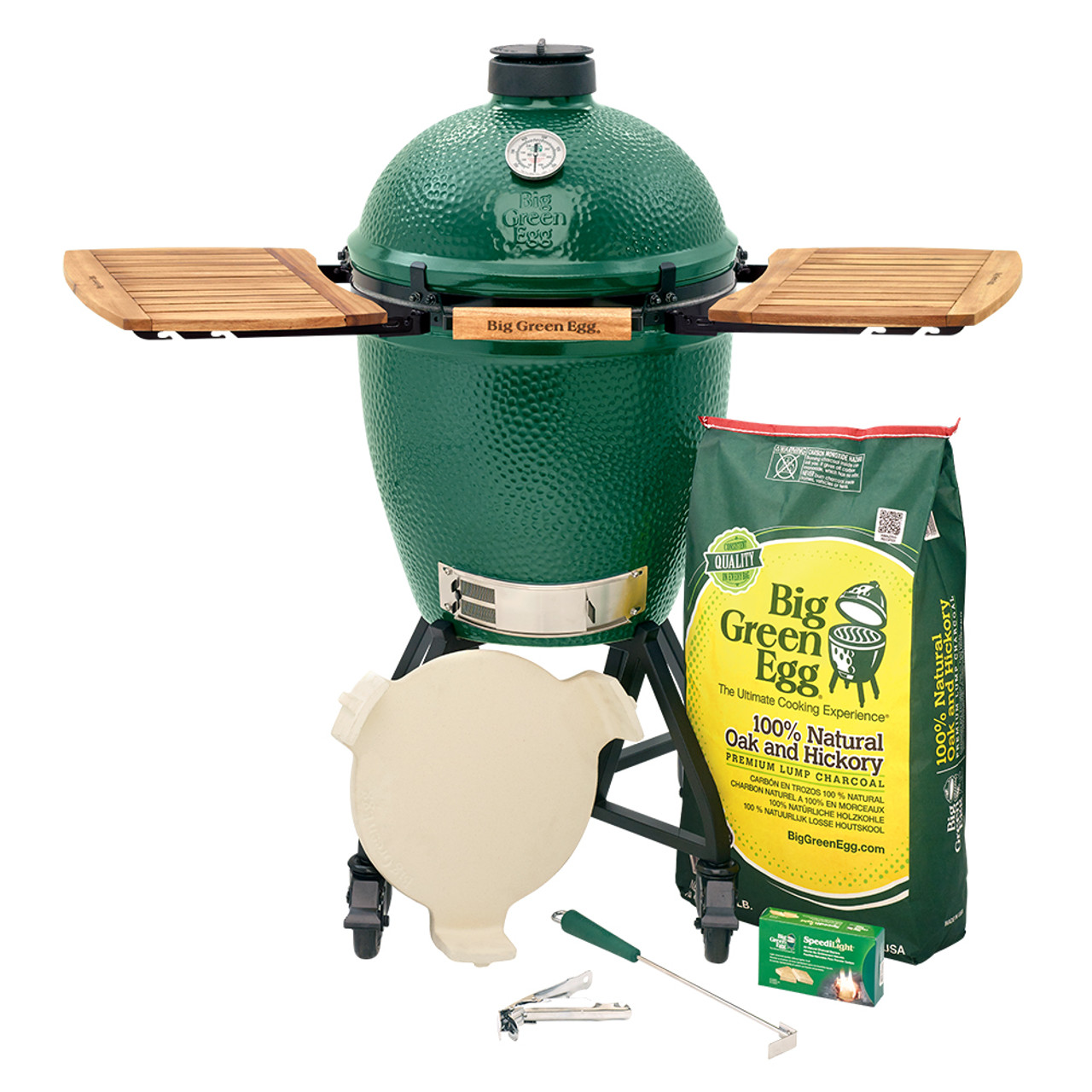 Large size Big Green EGG starter package: Big Green Egg, nest+handler, acacia mates, lump charcoal, charcoal starters, ash tool, grid gripper, large convEGGtor