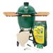 Large size Big Green EGG starter package: Big Green Egg, nest+handler, acacia mates, lump charcoal, charcoal starters, ash tool, grid gripper, large convEGGtor