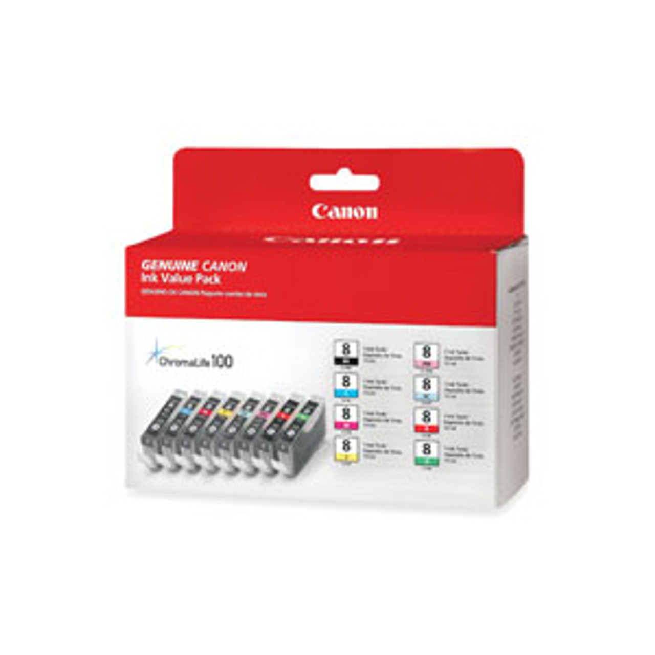 Canon CLI-8 8 color pack (Black, Cyan, Magenta, Yellow, Photo Cyan, Photo Magenta, Red and Green)