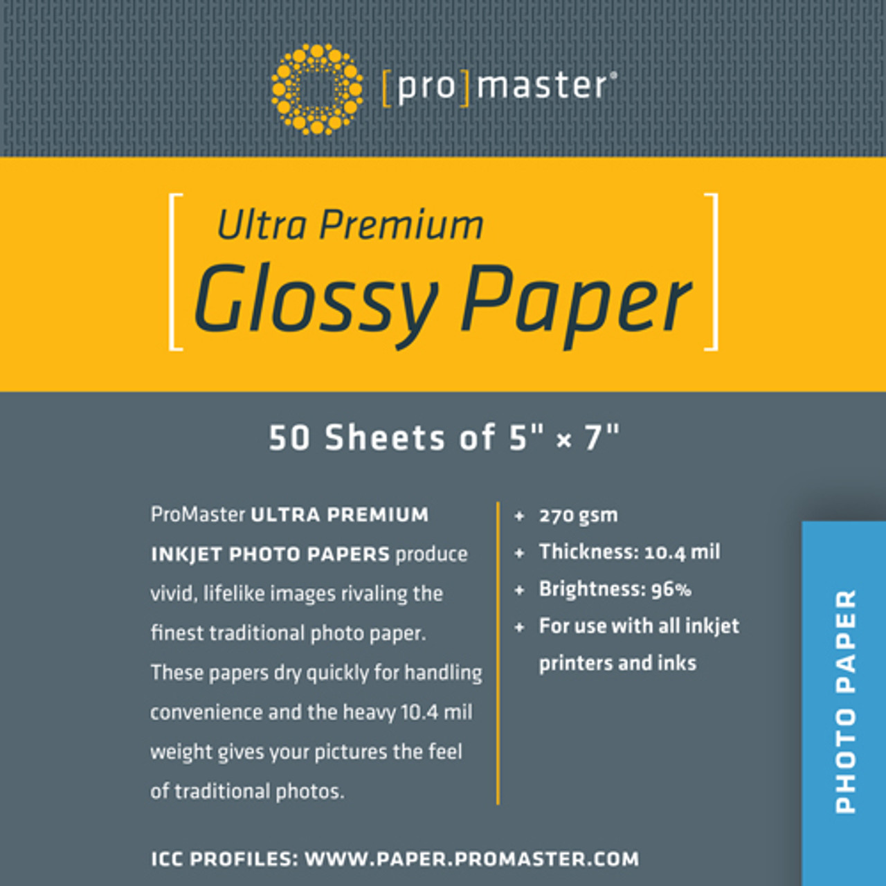 """ProMaster Ultra Premium Glossy Paper 5"""" x 7"""" (50 Sheets)"""