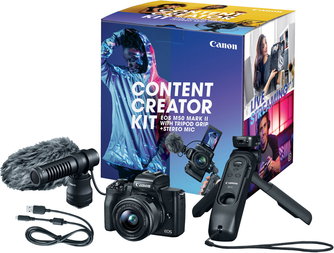 Canon M50 Mark II Mirrorless Camera with 15-45mm Lens Content Creator Kit