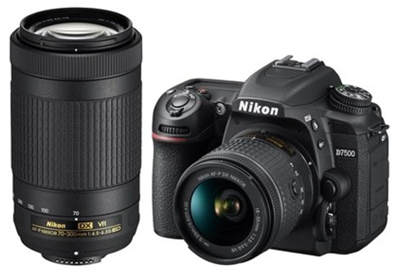 Nikon D7500 DSLR Camera with AF-P DX 18-55mm VR and AF-P DX 70-300mm VR Lenses - Black