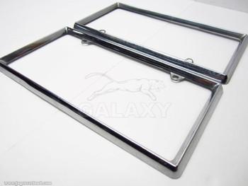 Vintage 2 Piece Pair Steel Chrome License Plate Holder Frame Box Body Assy
