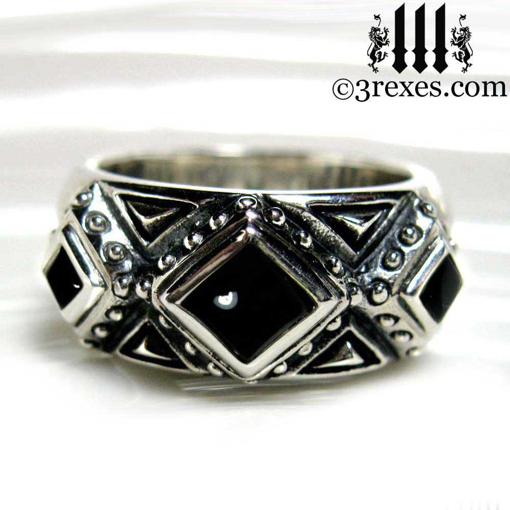 Mens King Silver Gothic Wedding Ring With Black Onyx Cabochon Stones 925 Sterling: Gothic Wedding Bands Men At Reisefeber.org