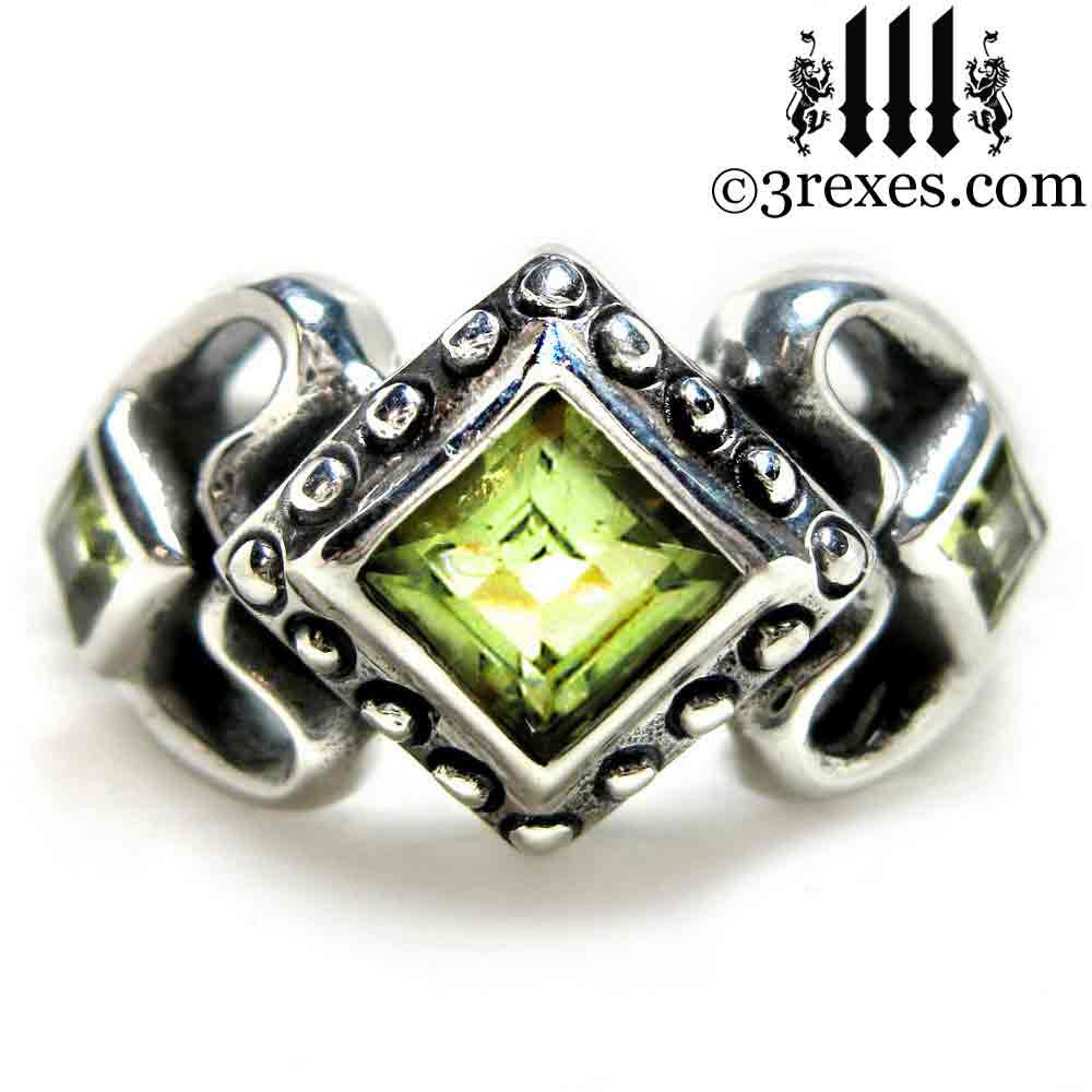 Ladies Gothic Wedding Ring Womans Medieval Engagement Band With Green Peridot Stones 925 Silver Princess Love: Meval Royal Wedding Rings At Websimilar.org