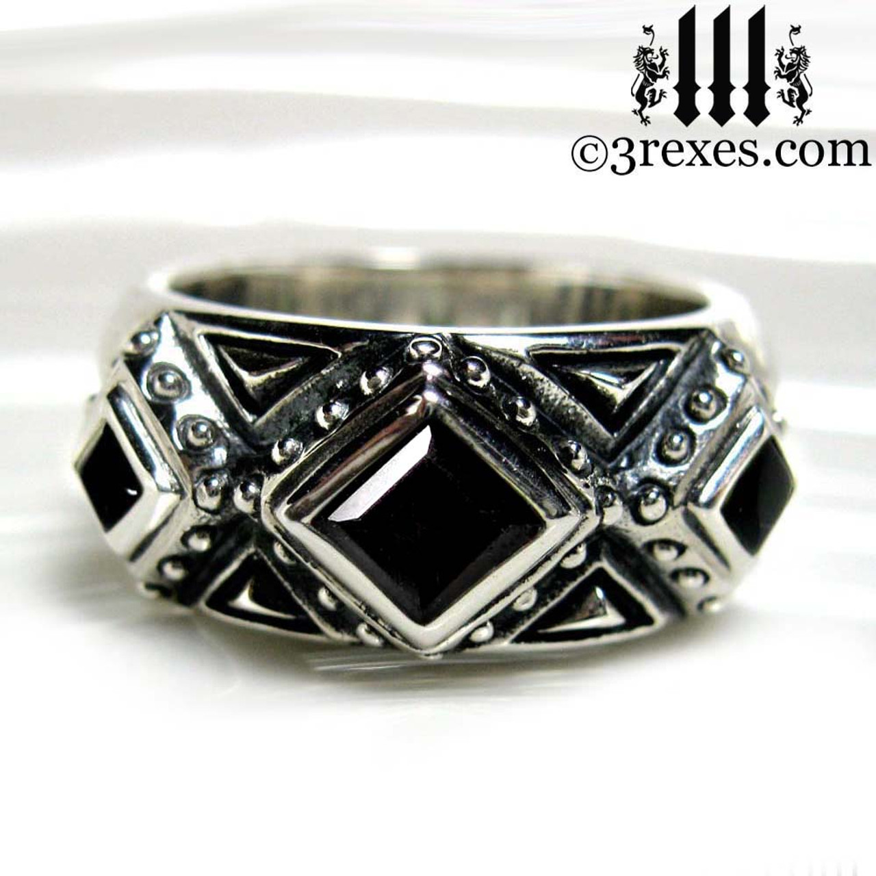 mens gothic ring, silver wedding band with black stones