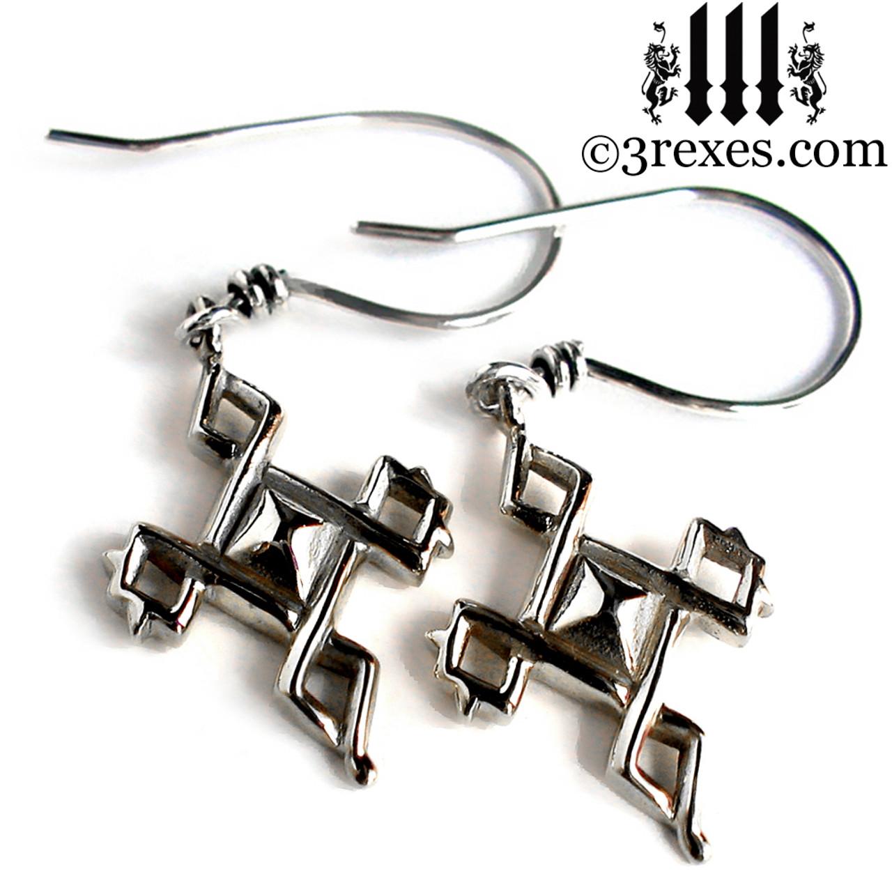3c8bbcc7d Celtic Cross Charm Earrings .925 Sterling Silver | 3 Rexes Jewelry